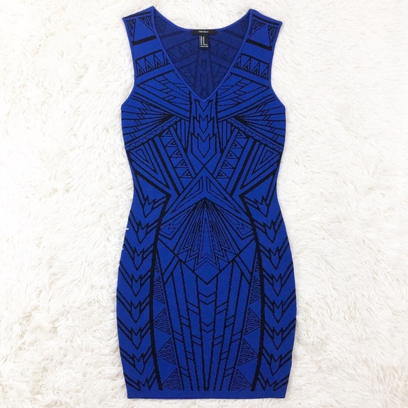 Forever 21 Dresses & Skirts - Forever 21 blue Aztec bodycon dress size small